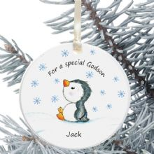 Ceramic Goddaughter/Godson Keepsake Christmas Decoration - Penguin Design